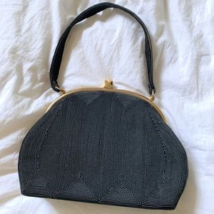 Handbags - Vintage Black Woven Embroidery Knit Purse Gold